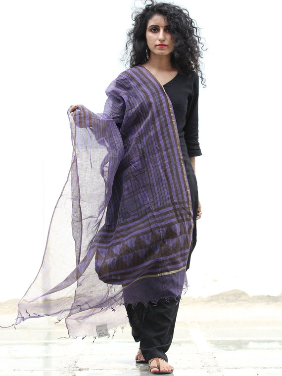 Purple Black Kota Silk Hand Block Printed Dupatta - D04170432