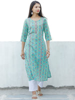 Sea Green Blue Purple Coral Hand Block Printed Cotton Kurta - K185F1896