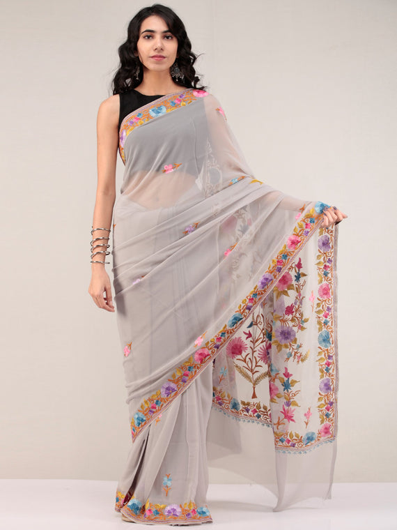 Grey Aari Embroidered Georgette Saree From Kashmir - S031704662