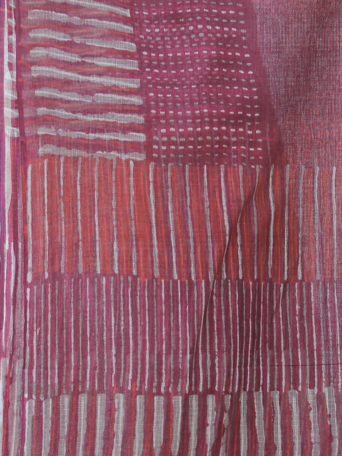 Plum Grey Red Kota Doria Cotton Hand Block Printed Dupatta  - D04170667