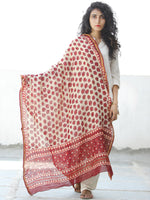 Ivory Cherry Red Chanderi Hand Block Printed Dupatta - D04170575