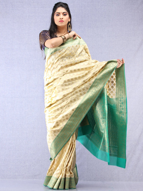 Banarasee Semi Silk Saree With Zari Border - Off White Green & Gold - S031704348