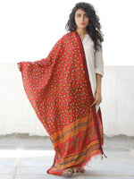 Red Yellow Green Chanderi Hand Block Printed Dupatta - D04170576