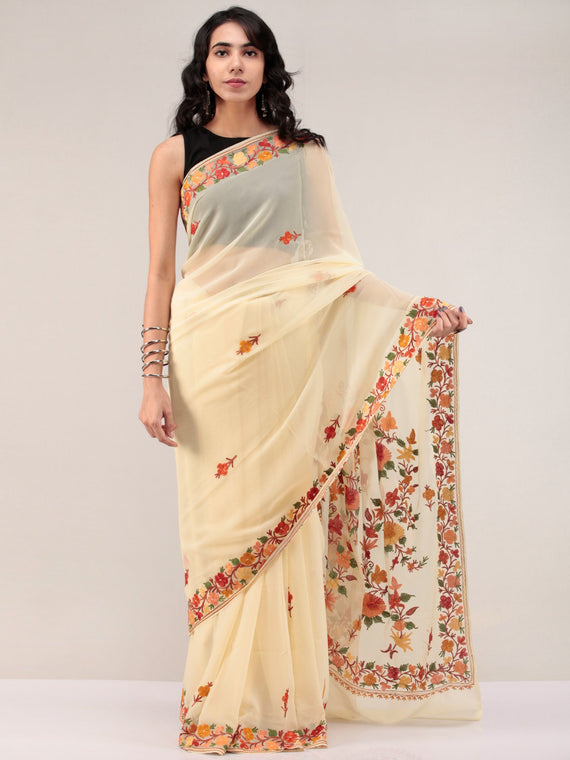 Beige Aari Embroidered Georgette Saree From Kashmir - S031704664
