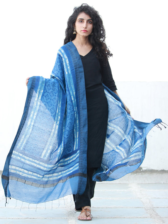 Indigo White Cotton Silk Hand Block Printed Dupatta - D04170490