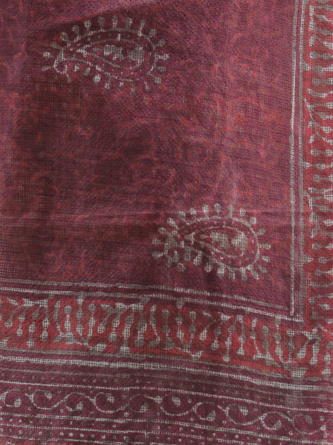 Plum Ivory Orange Kota Doria Cotton Hand Block Printed Dupatta  - D04170436