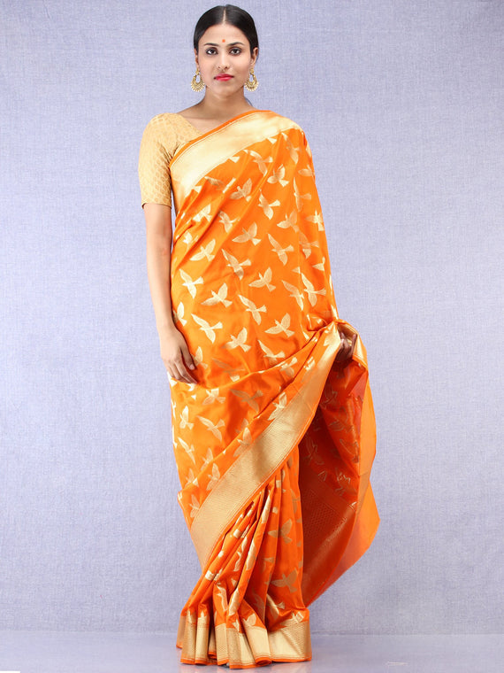 Banarasee Art Silk Saree With Bird Motif - Orange & Gold - S031704351
