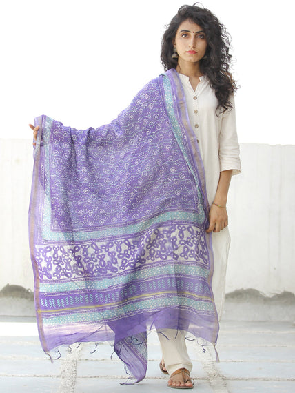 Purple White  Chanderi Hand Block Printed Dupatta - D04170579