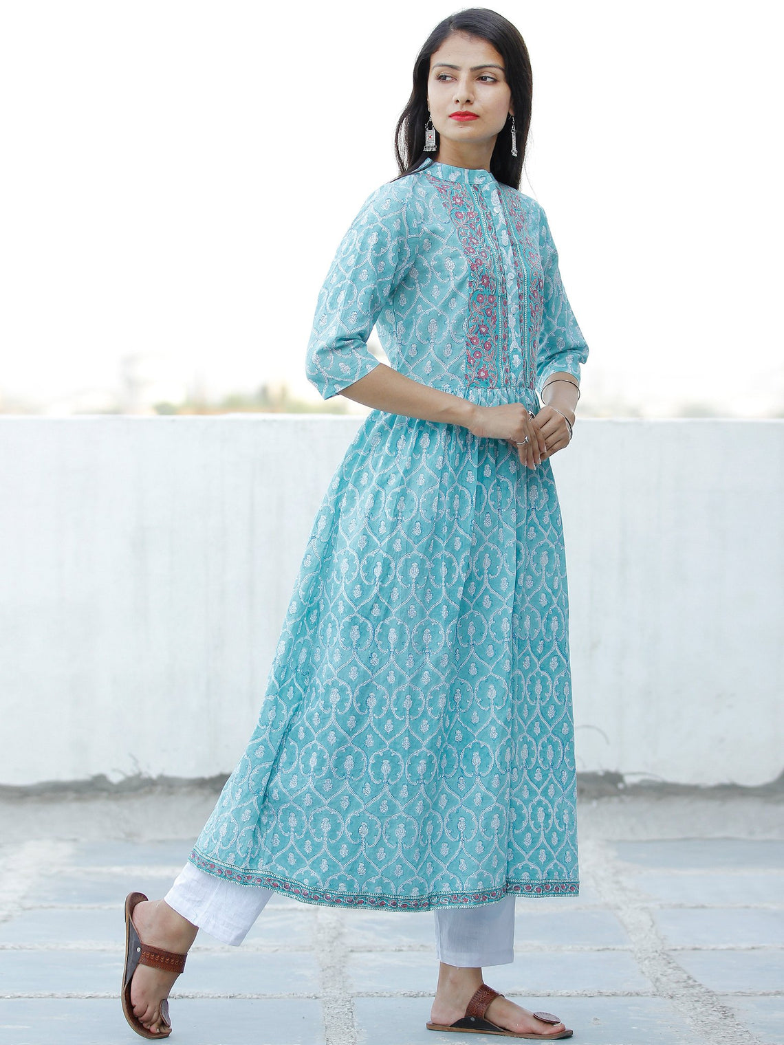 Ligh Sea Green Lavender White Hand Block Printed Cotton Long Kurta With Side Pockets - K177F1913