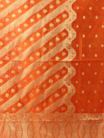 Banarasi Chanderi Dupatta With Zari Work - Orange & Gold - D04170834