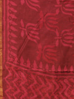 Maroon Red Chanderi Hand Block Printed Dupatta - D04170731