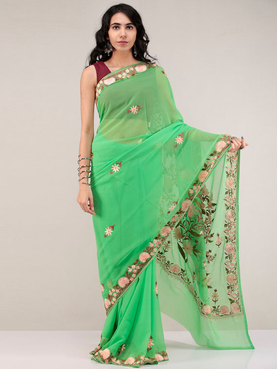 Green Aari Embroidered Georgette Saree From Kashmir - S031704668
