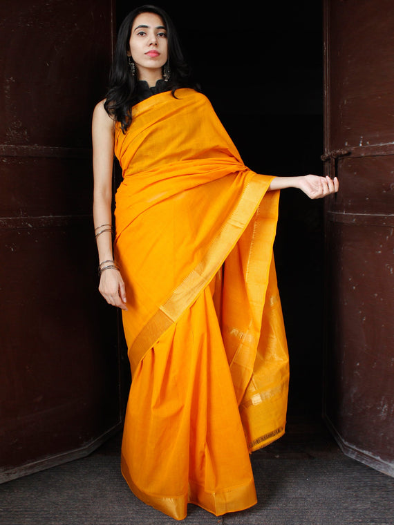 Orange Golden Handloom Mangalagiri Cotton Saree With Zari Border - S031703692