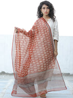 Rust Black Ivory Kota Doria Cotton Hand Block Printed Dupatta  - D04170673