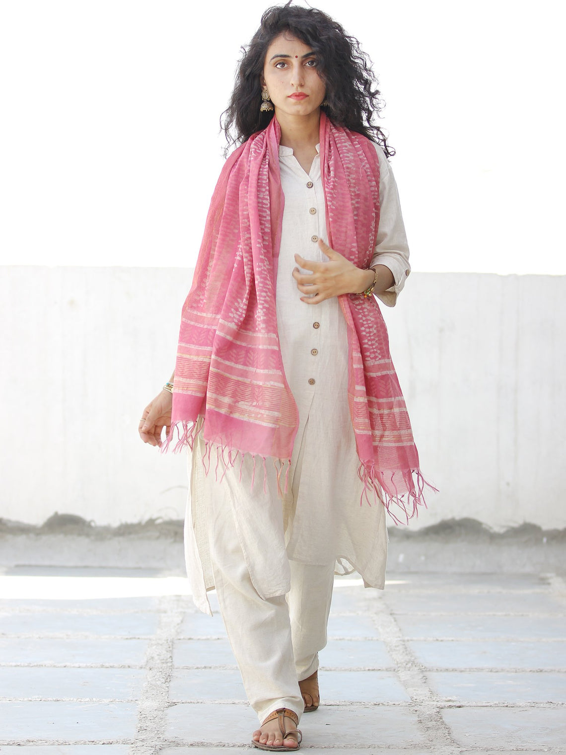 Pink Ivory  Chanderi Hand Block Printed Stole - D04170581