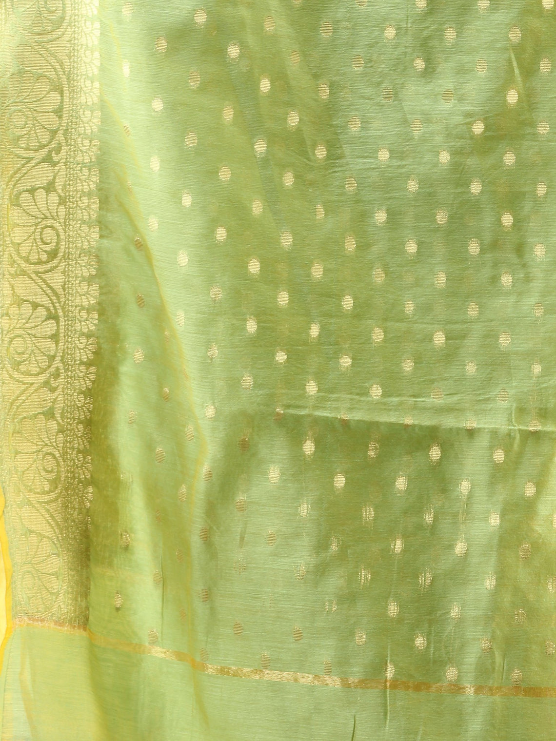 Banarasi Chanderi Dupatta With Zari Work - Light Green & Gold - D04170836