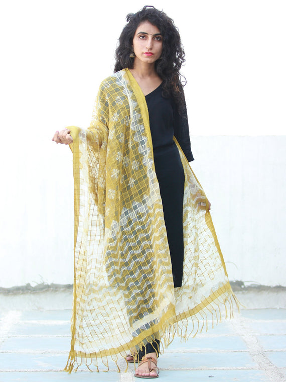 Yellow White Cotton Silk Hand Block Printed Dupatta - D04170496