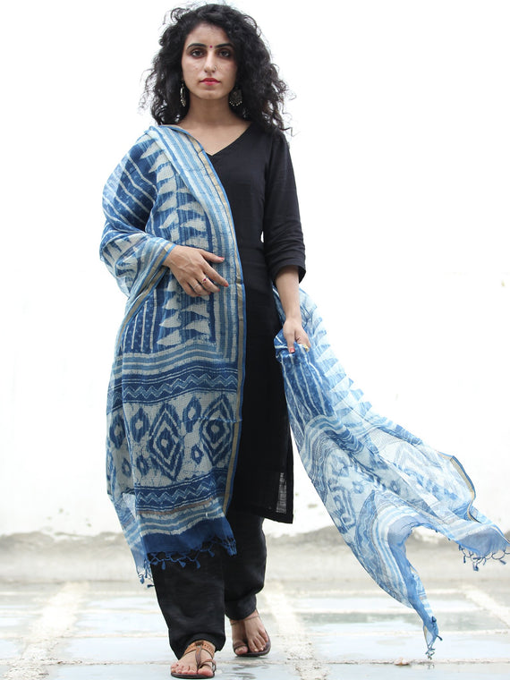 Indigo White Kota Silk Hand Block Painted Dupatta - D04170440