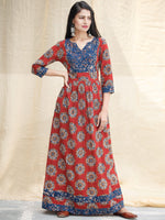 Indigo Red - Hand Block Printed Cotton Long Dress With Pockets  - D339F1825