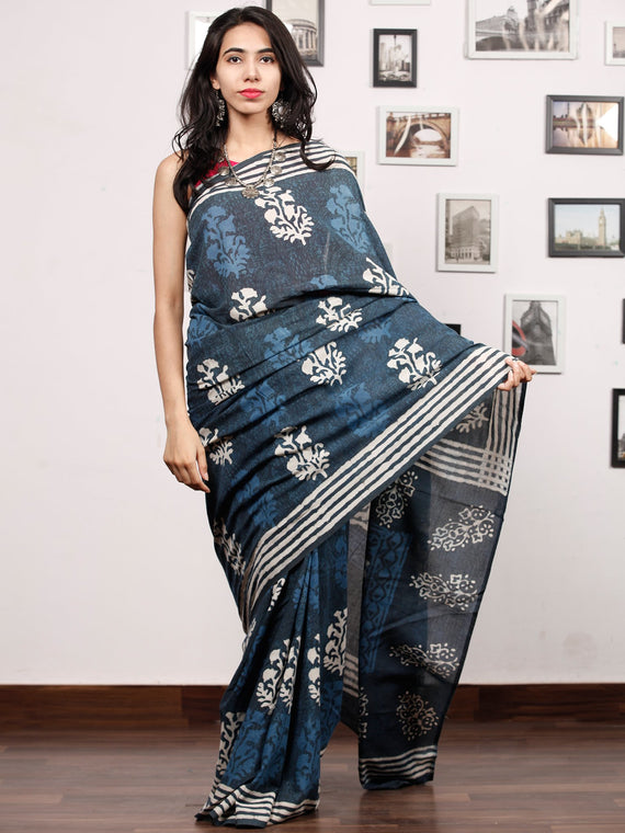 Indigo White Grey Hand Block Printed Cotton Mul Saree - S031703483