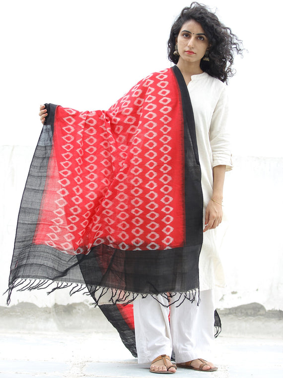 Red Black Double Ikat Handwoven Pochampally Cotton Dupatta -  D04170300