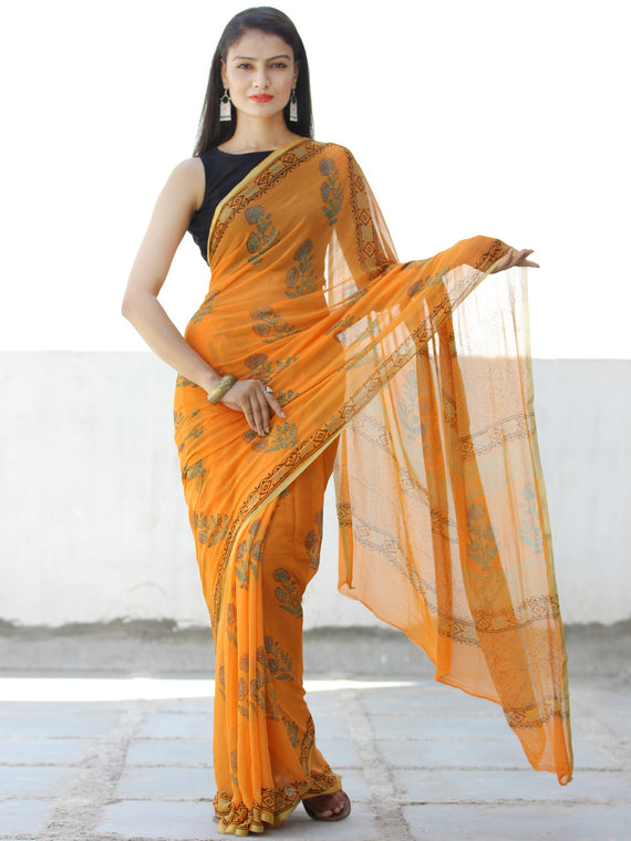 Orange Green Hand Block Printed Chiffon Saree with Zari Border - S031703957