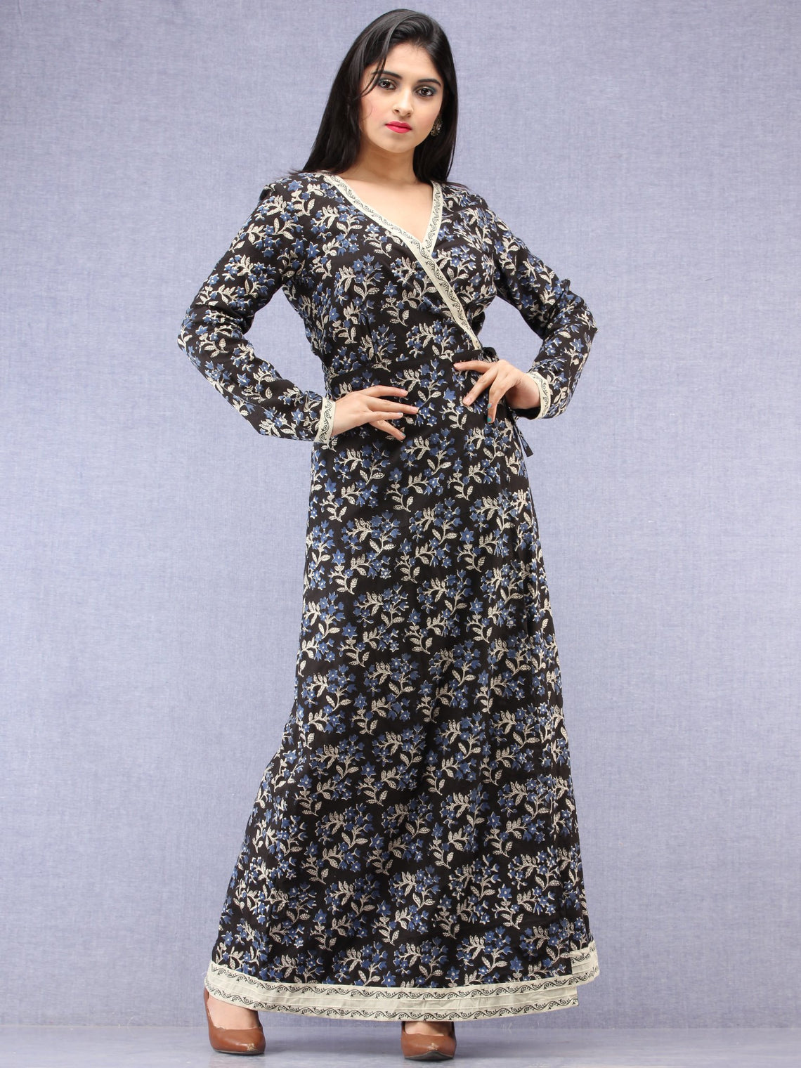 Johi - Hand Block Printed Long Cotton Wrap Round Dress  - D394F2062