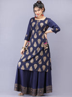 Aalia - Indigo Gold Block Print Kurta & Skirt Dress With Tassels - D380F2001