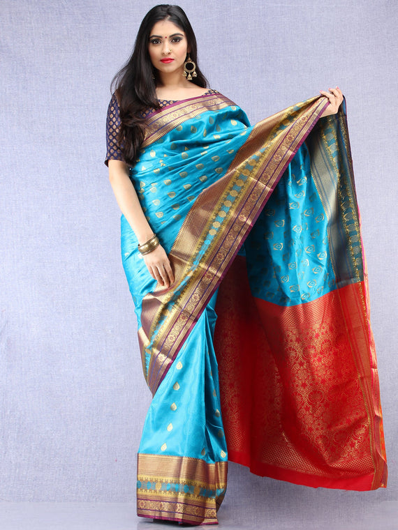 Banarasee Art Silk Saree With Resham Zari Weave - Sky blue Red & Gold - S031704380