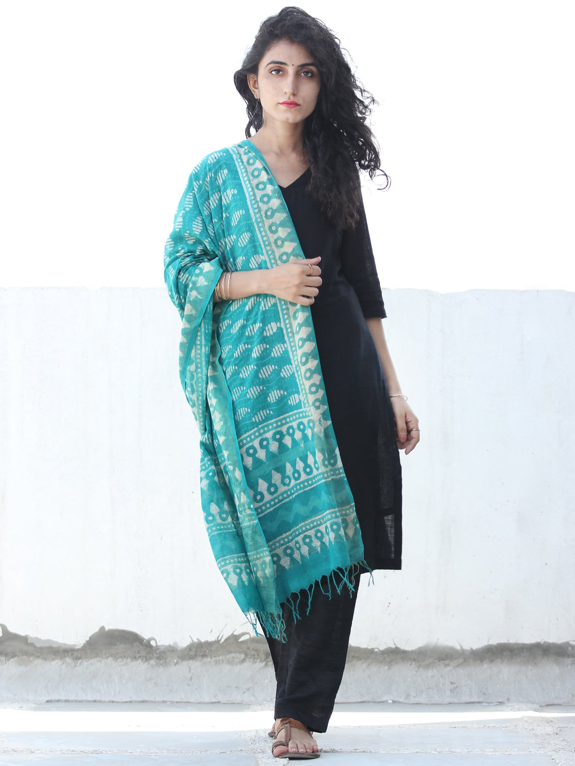 Teal Green Ivory Cotton Hand Block Printed Dupatta  - D04170449