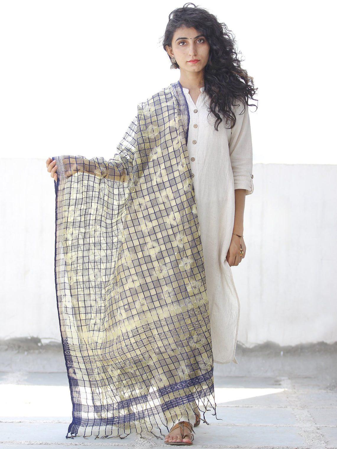 Blue Light Yellow White Cotton Art Silk Hand Block Printed Dupatta  - D04170537