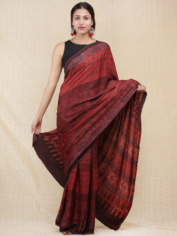 Crimson Red Black Indigo Ajrakh Hand Block Printed Modal Silk Saree - S031704153