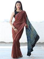Maroon Rust Indigo Black Bandhej Modal Silk Saree With Ajrakh Printed Pallu & Blouse - S031703874