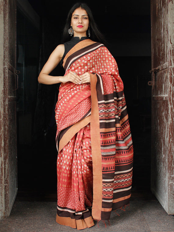 Pink Ivory Black Chanderi Silk Hand Block Printed Saree With Geecha Border - S031703984
