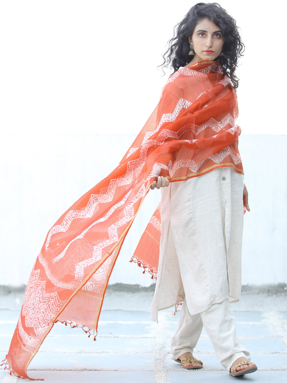 Orange White Shibori Kota Silk Hand Block Printed Dupatta - D04170632