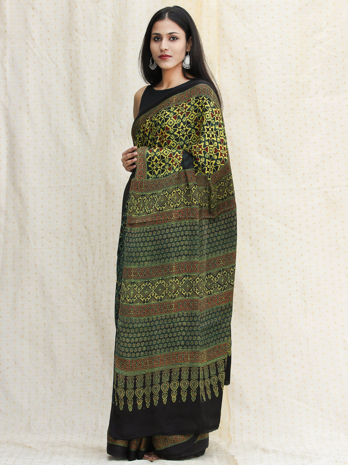 Bottle Green Black Lime Green Ajrakh Hand Block Printed Modal Silk Saree - S031704118