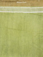 Green Ivory Chanderi Silk Hand Block Printed Saree With Geecha Border - S031703610