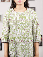 White Green Purple Hand Block Printed Cotton Top - T43F1494
