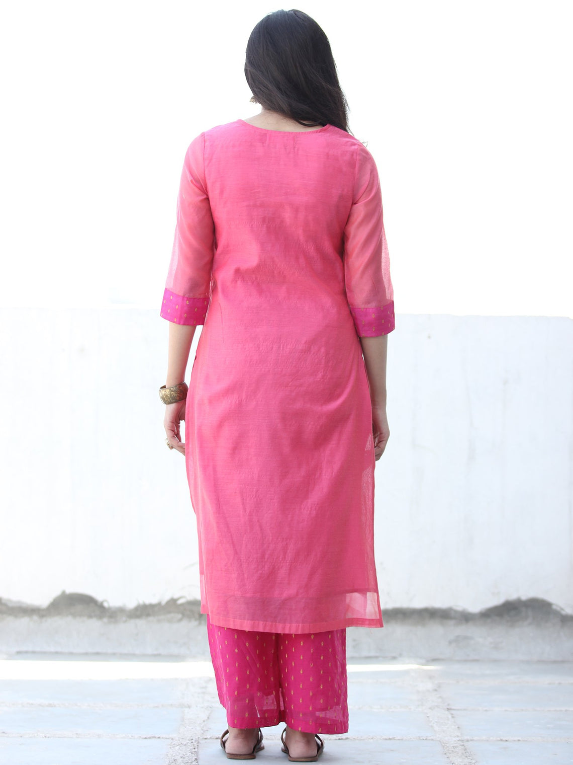 Golden Butta - Crimson Pink Golden Chanderi  Kurta & Pants Sets  - Set of 2  - SS01F059