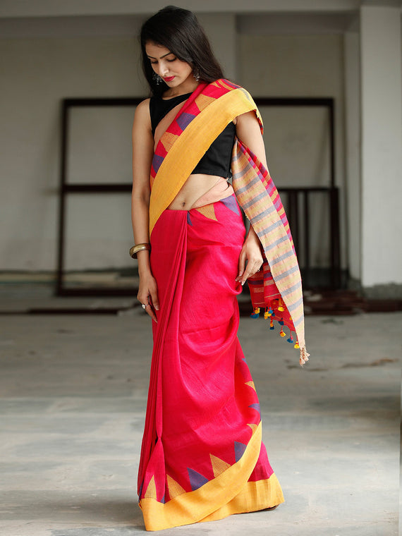 Red Yellow Purple Handwoven Linen Jamdani Saree With Tassels - S031703775