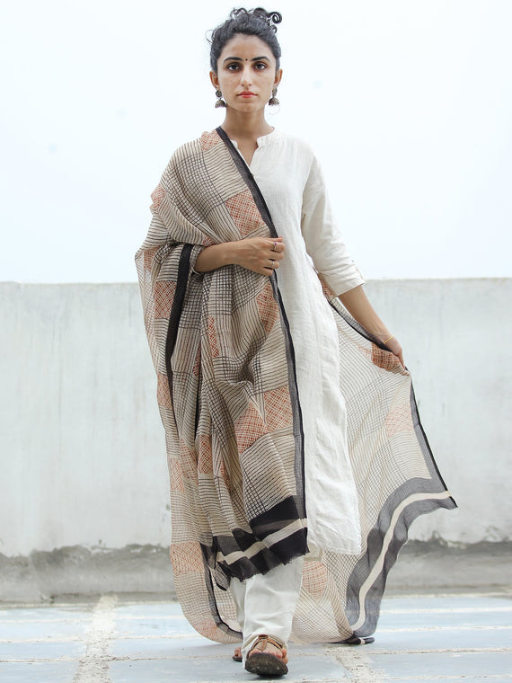 Beige Red Black Kota Doria Cotton Hand Block Printed Dupatta  - D04170351
