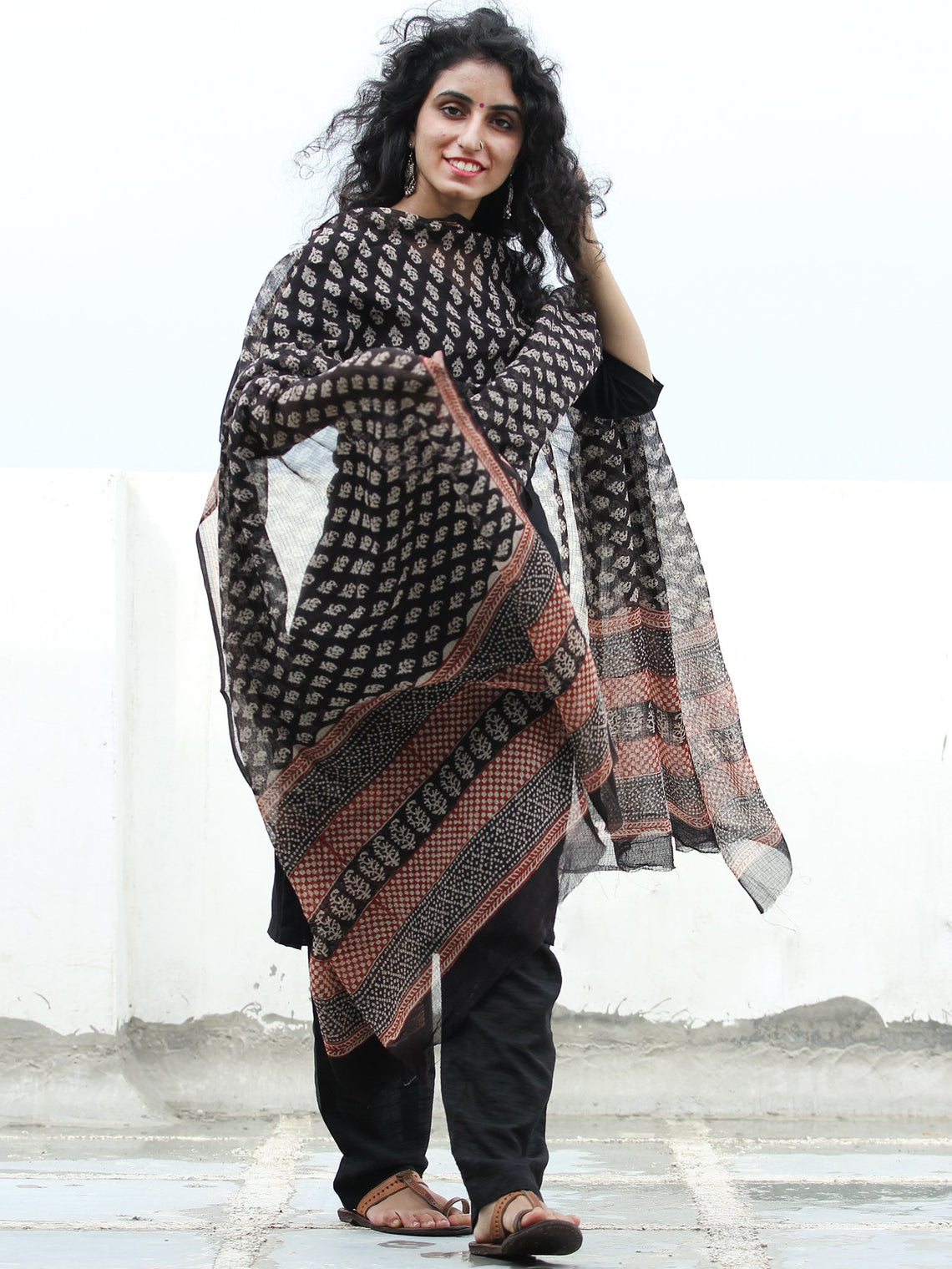 Black Ivory Red Kota Doria Cotton Hand Block Bagru Printed Dupatta  - D04170442