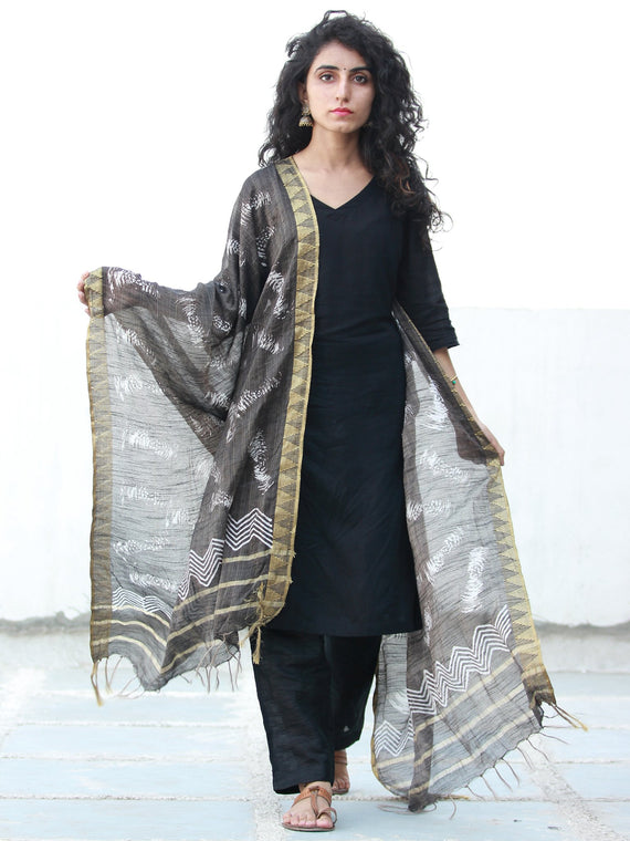 Black White Chanderi Hand Block Printed Dupatta  with Geecha Border- D04170498