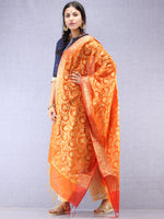 Banarasi Chanderi Dupatta With Resham Work - Orange & Gold - D04170839