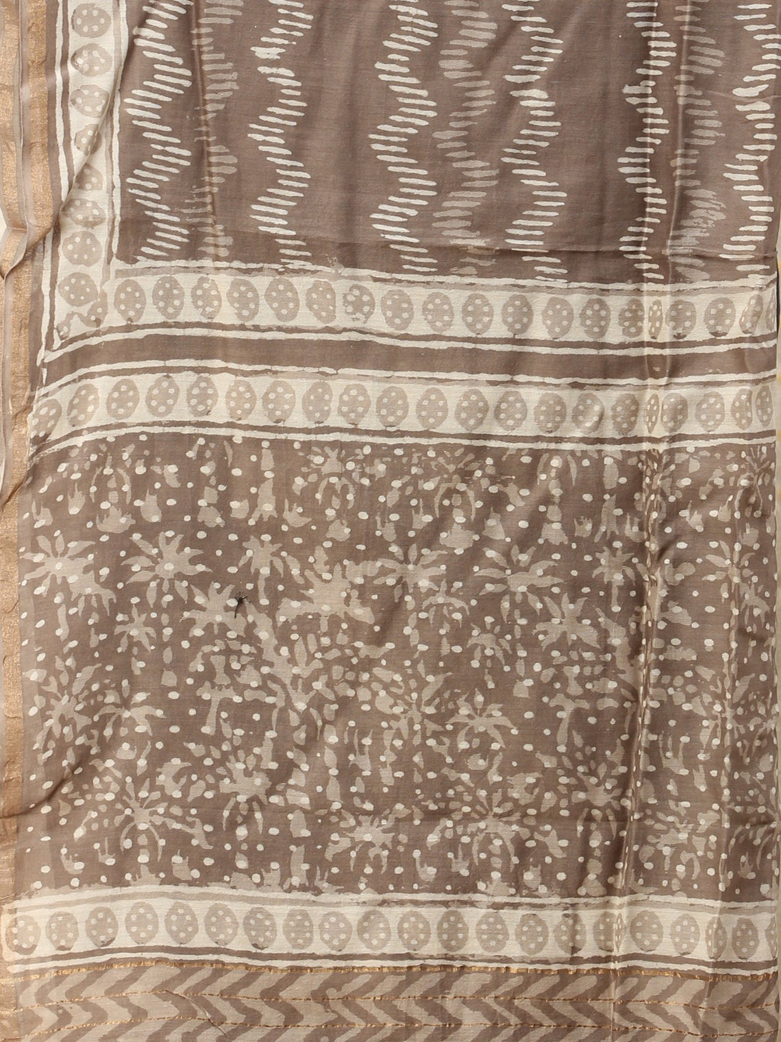 Kashish White Chanderi Hand Block Printed Dupatta - D04170737
