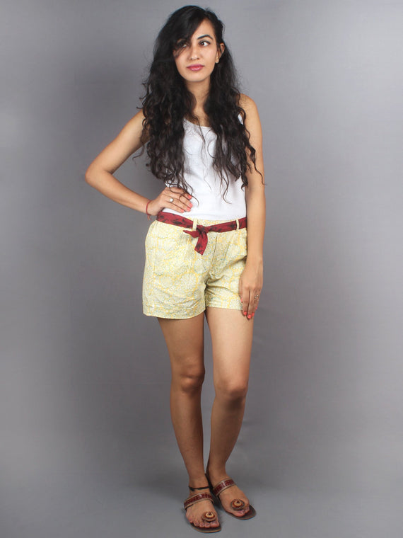 Yellow Hand Block Printed Shorts With Belt -S5296003