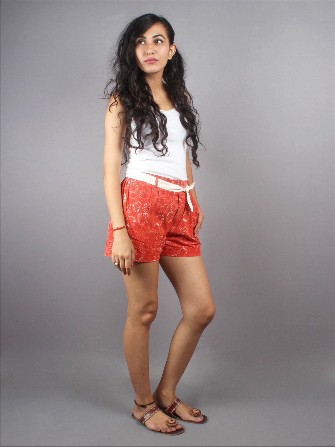 Red Hand Block Printed Shorts With Belt -S5296011