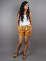 Mustard Hand Block Printed Shorts With Belt -S5296014