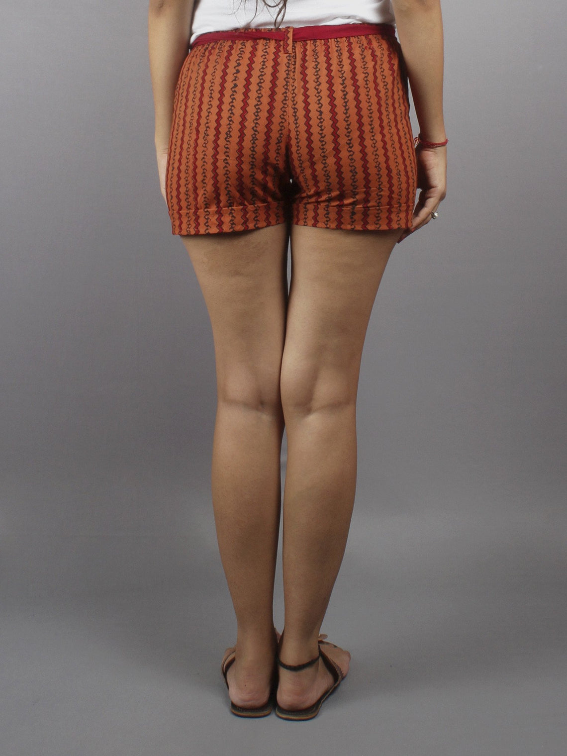 Red Hand Block Printed Shorts With Belt -S5296022