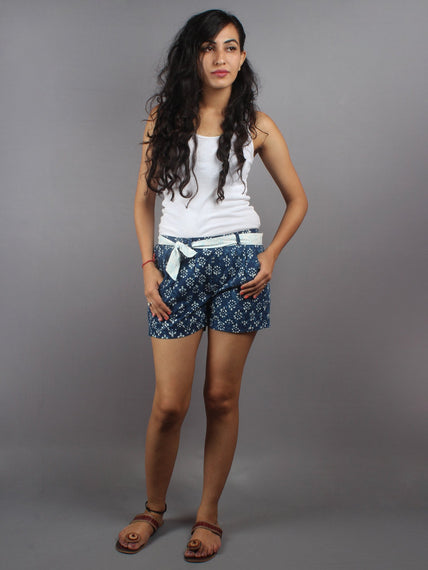 Blue Hand Block Printed Shorts With Belt -S5296027